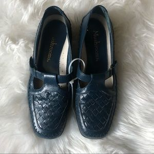 Mushrooms Shoe Navy Leather Loafer Mary Jane Strap